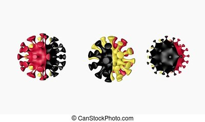 3D animation Coronavirus 2019-nCoV of Belgium. Belgian flag in virus ball spheres covid19, on white background. Growing Epidemic. Seamless loop animation. Concept infection visualization. Alpha channel
