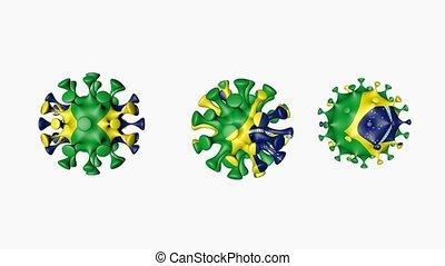 3D animation Coronavirus 2019-nCoV of Brazil. Brazilian flag in virus ball spheres covid19, on white background. Alpha channel