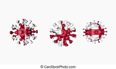 3D animation Coronavirus 2019-nCoV of England. English flag in virus ball spheres covid19, on white background. Alpha channel