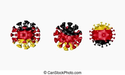 3D animation Coronavirus 2019-nCoV of Germany. Germany flag in virus ball spheres covid19, on white background. Alpha channel