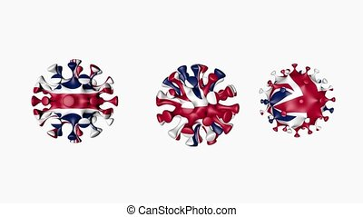 3D animation Coronavirus 2019-nCoV of Great Britain and Northern Ireland. United Kingdom or British flag in virus ball spheres covid19, on white background. Alpha channel. Growing Epidemic. Seamless loop animation