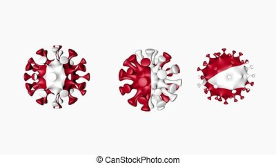 3D animation Coronavirus 2019-nCoV of Peru. Peruvian flag in virus ball spheres covid19, on white background. Alpha channel