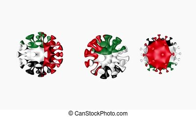 3D animation Coronavirus 2019-nCoV of United Arab Emirates. UAE flag in virus ball spheres covid19, on white background. Growing Epidemic. Seamless loop animation. Concept infection visualization. Alpha channel