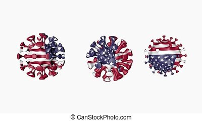3D animation Coronavirus 2019-nCoV of USA. USA flag in virus ball spheres covid19, on white background. Alpha channel