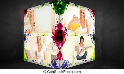 3d, animation-cube, van, vrouwen