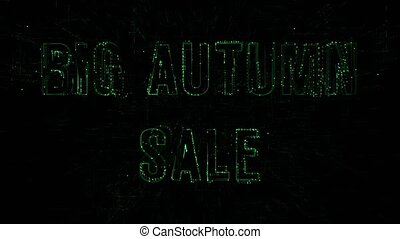 """3D animation data digital code with """"Big Autumn Sale"""" text"""