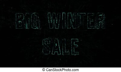 """3D animation data digital code with """"Big Winter Sale"""" text"""