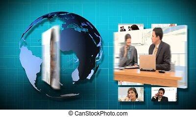 3d animation, di, affari, communicat