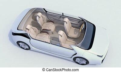3d animation, di, riunione affari, disposizione, in, stesso, guida, automobile