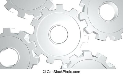 3D animation five white gears rotate . Alpha channel. Close...