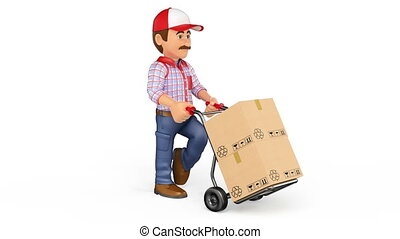 3D Animation footage delivery man pushing a hand truck with boxes with white background photo-jpg