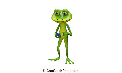 3D Animation Frog and Smartphone with Alpha Channel on a...