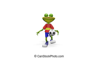 3D Animation Frog Football Player with Alpha Channel on a...