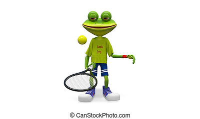 3D Animation Frog with Tennis Racket with Alpha Channel on a...