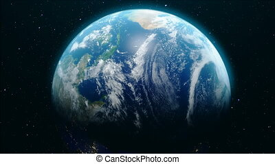 3D Animation from Earth orbit. Approaching the Earth. Earth rotates around its axis. Concept Our house. World Globe from Space. Beautiful view from space. Elements of this image furnished by NASA