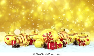 3d animation - golden christmas baubles over bokeh...