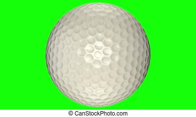 3D animation, golf ball in motion in middle of screen. -...