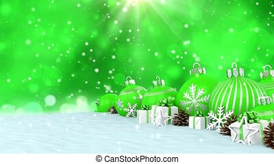 3d animation - green christmas baubles over bokeh background...