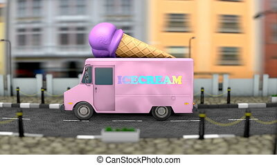 """3d animation, Icecream van"""
