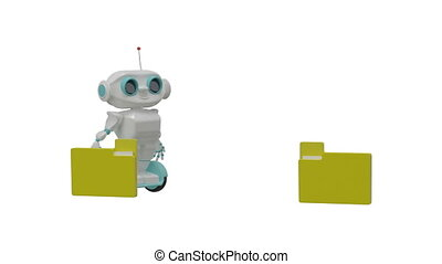 3D Animation Little Robot Carries Documents with Alpha Channel
