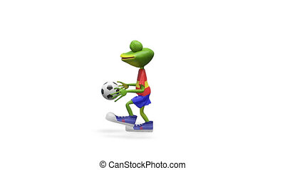 3D Animation Merry Frog Football Player with Alpha Channel...