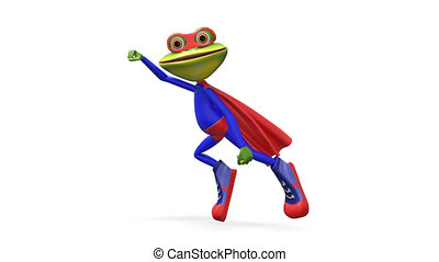 3D Animation Merry Super Frog with Alpha Channel on a...