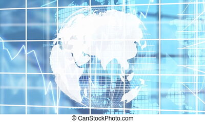 3d, animation numérique, engendré, tourner, globe