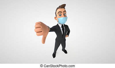 3D Animation of a business man with a mask