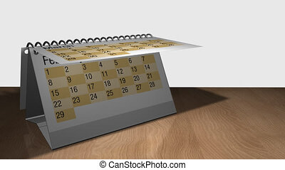 3D animation of a desk calendar on a wooden table with white background. Each sheet contains a month and they are rotating one on top of the other. The calendar contains the date February 29 - Alpha channel included
