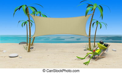 3D Animation of a Frog in a Deckchair on the Beach and Cloth...