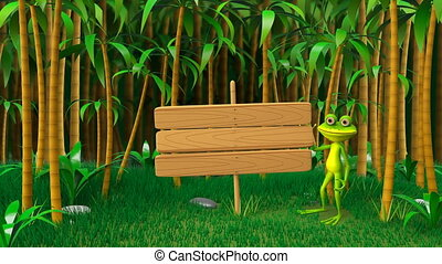 3D Animation of a Frog in the Jungle with Wooden Plate...