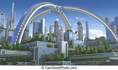 """3D Animation of a futuristic """"green"""" city"""