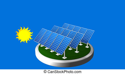 3D animation of a group of solar panels following the path of the sun with blue background - Renewable Energy