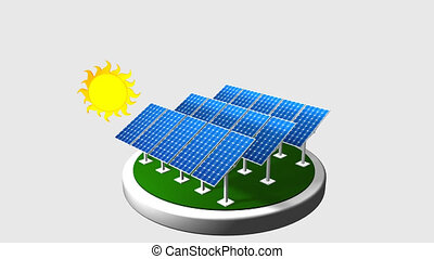 3D animation of a group of solar panels following the path of the sun with white background - Renewable Energy - Alpha channel included