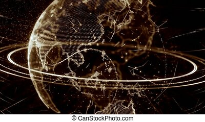 3d animation of a growing network across the world - brown...