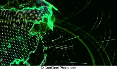 3d animation of a growing network across the world - green...