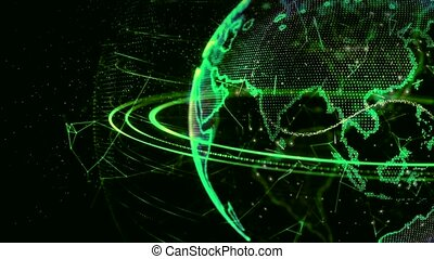 3d animation of a growing network across the world - green version