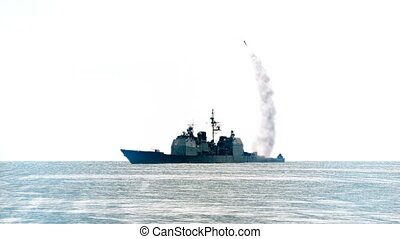 Navy vessel firing off a long range missile. - 3D animation...