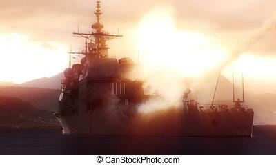 Navy vessel firing off a long range missile. - 3D animation...