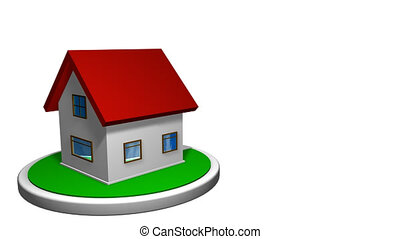 3D animation of a small house with a red roof on a white disk, with a mailbox in front. The house rotates 360 degrees. Loop animation. Alpha channel included