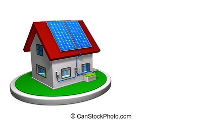 3D animation of a small house with a solar energy system installed, with 4 solar panels on the red roof on a white disk. The house rotates 360 degrees. Renewable Energy - Alpha channel included