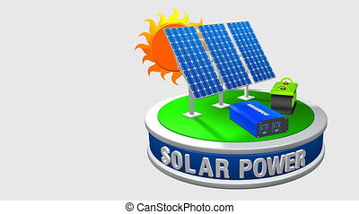 3D animation of a solar energy equipment consisting of 3 solar panels, an inverter and a battery rotating 360 degrees with the sun behind - Renewable Energy - Loop sequence - Alpha channel included