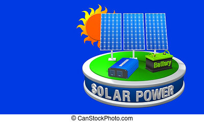 3D animation of a solar energy equipment consisting of 3 solar panels, an inverter and a battery rotating 360 degrees with the sun behind on blue background - Renewable Energy - Loop sequence