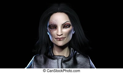3D animation of a witch face