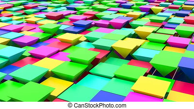 3D animation of abstract floating triangles in bright...