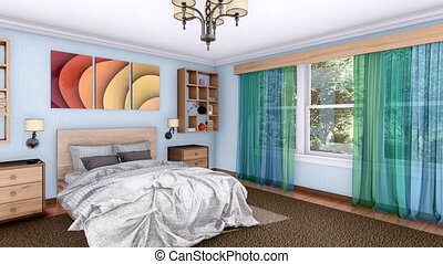 3D animation of bright modern bedroom interior