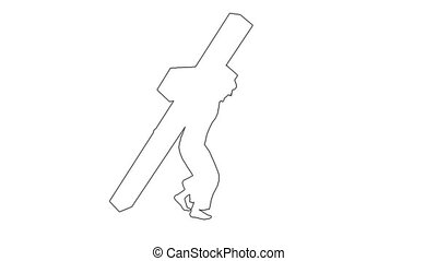 3d animation of Carrying The Cross - seperated on white background