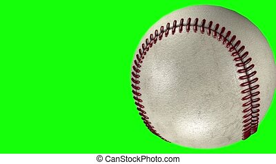 3D animation of classic baseball ball crossing a transparent background.