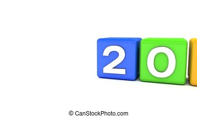 3d animation of colorful cubes with 2017 - 2018 - represents the new year 2018