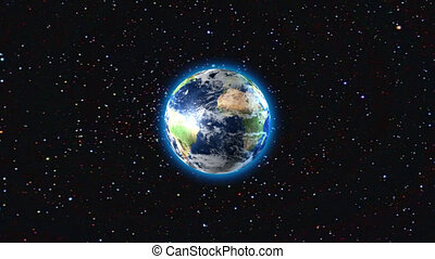 3D animation of Earth exploding.